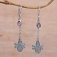 Amethyst dangle earrings, 'Dragonfly Altar' - Handmade 925 Sterling Silver Amethyst Dragonfly Earrings