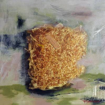 Signed Mixed Media Abstract Painting (2010) from Bali