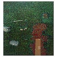 'Grass Roots' (2012) - Large Signed Abstract Painting in Green from Indonesia