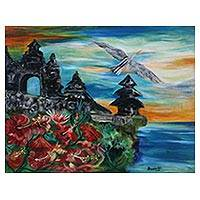 'Uluwatu Temple' - Impressionist Painting of Uluwatu Temple from Java