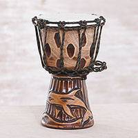Mahogany mini djembe drum, 'Dolphin Beat' - Dolphin-Themed Mahogany Mini Djembe Drum from Bali