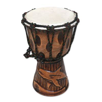 Mahogany djembe drum, 'Dolphin Beat' - Dolphin-Themed Mahogany Djembe Drum from Bali
