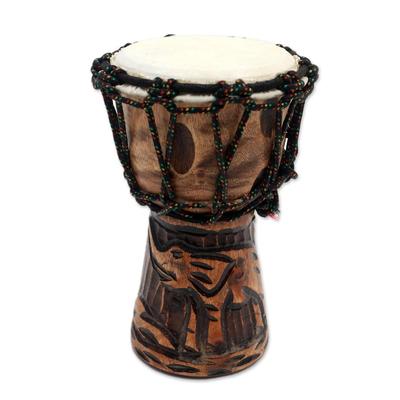 Elephant-Themed Mahogany Mini Djembe Drum from Bali