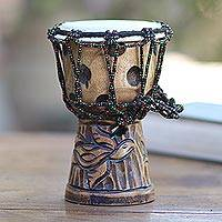 Mahogany mini djembe drum, 'Turtle Beat' - Turtle-Themed Mahogany Mini Djembe Drum from Bali