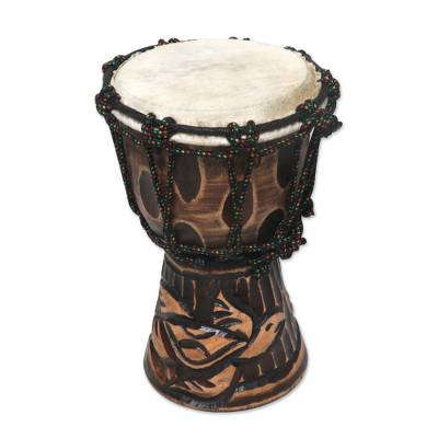 Mahogany djembe drum, 'Turtle Beat' - Turtle-Themed Mahogany Djembe Drum from Bali