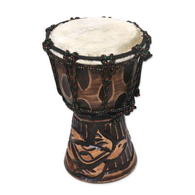 Turtle-Themed Mahogany Mini Djembe Drum from Bali