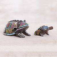Wood percussion instruments, 'Melodic Frogs' (pair) - Two Suar Wood Frog Percussion Insruments from Bali