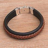 Men's leather and sterling silver wristband bracelet, 'Kuat in Brown' - Men's Sterling Silver and Leather Cord Bracelet from Bali