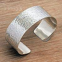 Sterling silver cuff bracelet, 'Wishing Well' - Handmade in Bali 925 Sterling Silver Textured Cuff Bracelet