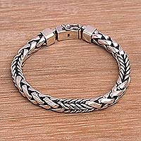Sterling silver chain bracelet, 'Woven Chain' - Handmade in Bali 925 Sterling Silver Link Chain Bracelet