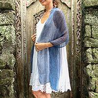 Silk shawl, 'Bali Elegance' - Indigo and Steel Blue Batik Silk Shawl Hand Crafted in Bali