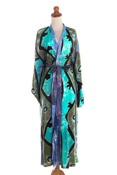 Teal Black and Blue Rayon Batik Long Sleeved Lounge Robe