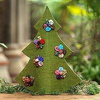 Jute figurine, 'Christmas in Batik in Green' - Handmade Green Batik Christmas Tree Decorative Sculpture