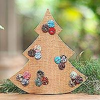Jute decorative accent, 'Christmas in Batik in Brown' - Handmade Brown Batik Christmas Tree Decorative Sculpture