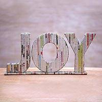 Recycled paper sculpture, 'Joyful Day' - Handmade Holiday Decorative Sculpture Joy Recycled Paper