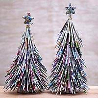Recycled paper figurines, 'News Tree' (pair) - Handmade Recycled Paper Christmas Tree Figurines (Pair)
