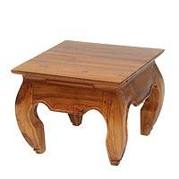 Teakwood end table, 'Kuta Beach' - Handmade Teakwood Wide Top End Table Hand Carved in Bali