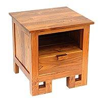 Teakwood nightstand, 'Negari' - Handmade Carved Brown Teakwood Nightstand Made in Bali
