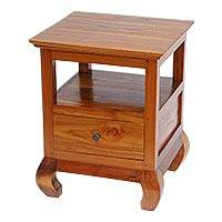 Teakwood nightstand, 'Gili Brown' - Handmade Brown Carved Teakwood Nightstand Made in Bali