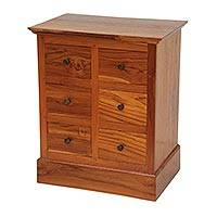 Teakwood mini chest of drawers, 'Modern Minimalist' (24 inch) - Brown 6 Drawer Carved Teakwood Chest Crafted in Bali