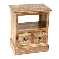 Teak wood nightstand, 'Tabanan Classic' - Handmade Carved Natural Teak Wood Nightstand With Drawers