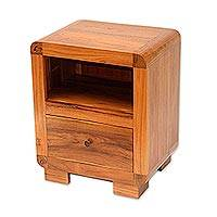 Teakwood accent table, 'Mod Appeal' - Handcrafted Teakwood Single Drawer and Shelf Accent Table