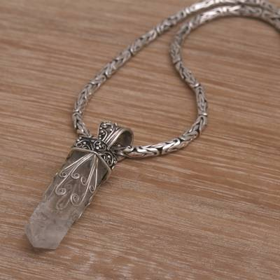 Quartz pendant necklace, 'Crystalline Fern' - Handmade 925 Sterling Silver Quartz Pendant Chain Necklace