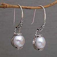 Cultured pearl dangle earrings, 'Purnama Moon' - Moon Inspired Handmade 925 Silver Cultured Pearl Earrings