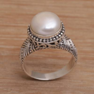Handmade 925 Sterling Silver Cultured Pearl Cocktail Ring