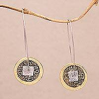 Brass and sterling silver dangle earrings, 'Aksara Coins' - Brass and Sterling Silver Old World Aksara Coins Earrings
