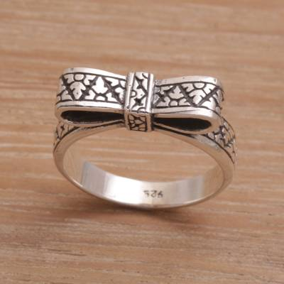 Balinese Handmade 925 Sterling Silver Ribbon Cocktail Ring
