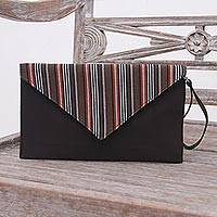 Cotton wristlet, 'Lurik Amplop Brown' - Brown and Orange Cotton Wristlet Clutch with Interior Pocket