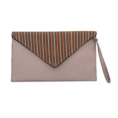 Khaki and Orange Cotton Wristlet Clutch with Interior Pocket