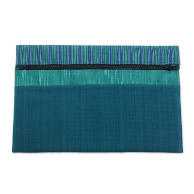 100% Cotton Teal Green Striped Tablet Sleeve from Indonesia