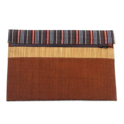 100% Cotton Brown Striped Tablet Sleeve from Indonesia