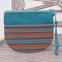 Cotton clutch wristlet, 'Lurik Sphere Teal' - 100% Cotton Striped Teal Clutch Exterior Pocket Wristlet