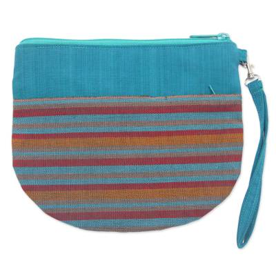 100% Cotton Striped Teal Clutch Exterior Pocket Wristlet