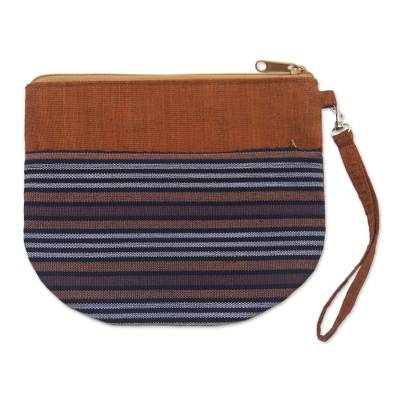 100% Cotton Striped Brown Clutch Exterior Pocket Wristlet