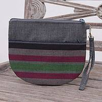 Cotton clutch wristlet, 'Lurik Sphere Gray' - 100% Cotton Striped Gray Clutch Exterior Pocket Wristlet