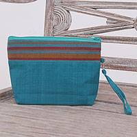 Cotton clutch wristlet, 'Lurik Parade Teal' - 100% Cotton Striped Teal Clutch Interior Pocket Wristlet