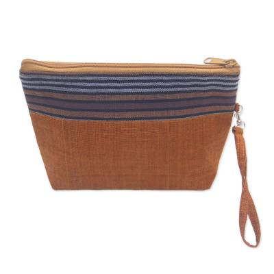 100% Cotton Striped Brown Clutch Interior Pocket Wristlet