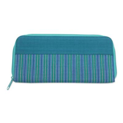 Hand Woven Teal Striped Cotton Wallet with Zipper Closure
