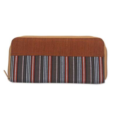 Hand Woven Brown Striped Cotton Wallet with Zipper Closure