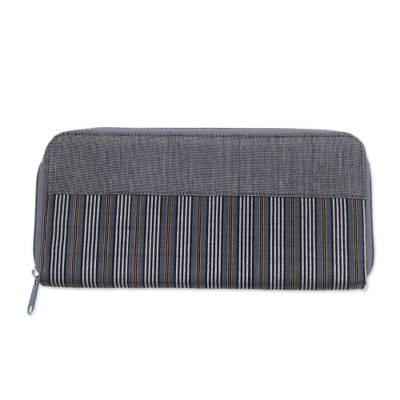 Hand Woven Grey Striped Cotton Wallet with Zipper Closure