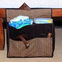 Cotton organizer bag, 'Lurik Dreams Chocolate' - Hand Woven Chocolate Striped Cotton Organizer Bag