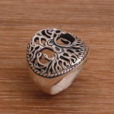 Sterling Silver Tree Cocktail Ring Handmade in Bali