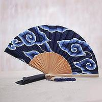 Mahogany wood and cotton batik fan, 'Indonesian Sky' - Mahogany Wood and Blue Cotton Batik with White Clouds Fan