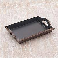 Coconut shell tray, 'Tropical Service' - Handcrafted Coconut Shell and Wood Tray from Indonesia
