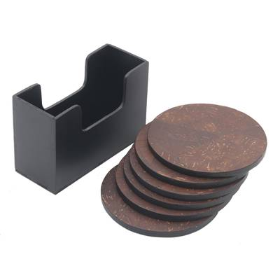 Handmade Set of Six Coconut Shell Coasters from Indonesia