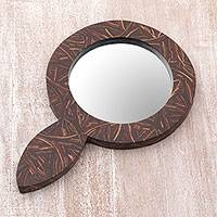 Coconut shell hand mirror, 'Coco Reflection' - Coconut Shell and MDF Hand Mirror of Indonesia